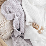 Snuggle Hunny Diamond Knit Baby Blanket - Warm Grey