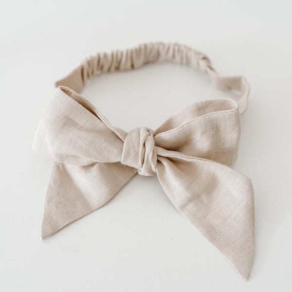 Natural Linen Bow Pre-Tied Headband Wrap