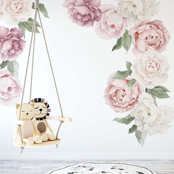 Classic Pink Peony & Rose Wall Decals