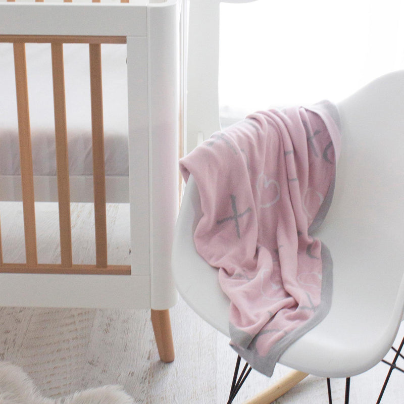 Pink Bloom Bamboo Knit Blanket