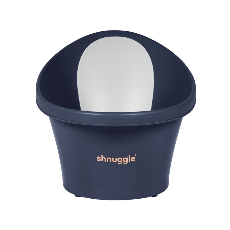 Shnuggle Baby Bath with Plug & Foam Backrest - Navy