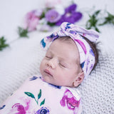 Snuggle Swaddle & Topknot Set - Floral Kiss