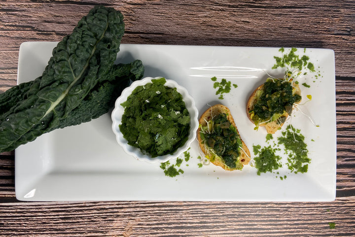 Kale tapenade and crystals