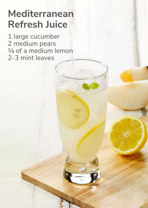 Mediterranean refresh juice with ingredient text