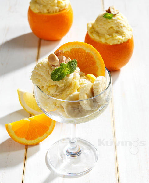 Orange Sorbet The best dessert for an after meal.  Experience Level: Intermediate Ingredients 1¼ cup oranges wedges, peeled and frozen ⅓ cup evaporated milk ¼ cup vanilla yogurt 1 banana, sliced and frozen ¼ cup sliced almonds (optional) Product Needed Kuvings Whole Slow Juicer, assembled with the blank strainer.  Directions Defrost the frozen ingredients for 5 minutes. Combine the the evaporated milk and yogurt. Add the frozen oranges. Alternate between...  Add extra toppings based on your preference.