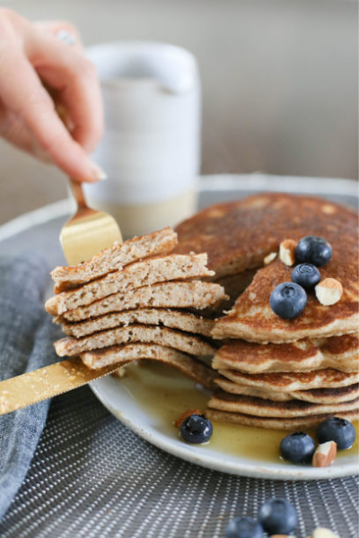 stack of almond pulp pancakes