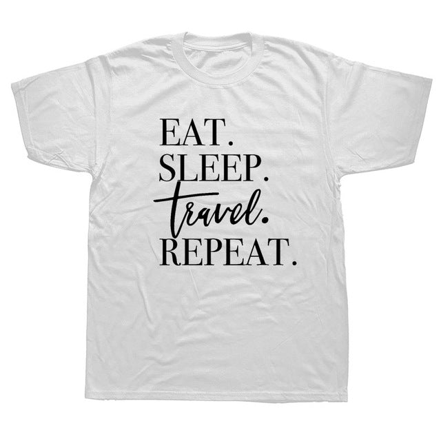 Funny Print Eat Sleep Travel Airplane Heartbeat Joke T-shirt Husband Casual Short Sleeve Cotton Streetwear Hip Hop T Shirts Men