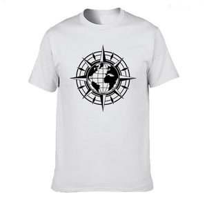Map Of World Compass Travel Globe Earth Funny T Shirt Casual Cotton Summer Short Sleeve T-shirt Mans Tshirt Men tops tee