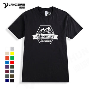 The Adventure Awaits Letter Print T-shirt 16 Colors Pure Cotton Boutique Tshirt Travel Vacation Casual Design T Shirts Unisex
