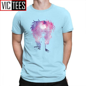 Men Steins Gate T-Shirts Time Travel Scientist Tee Shirts T Shirts Pure Cotton Anime Crew Neck