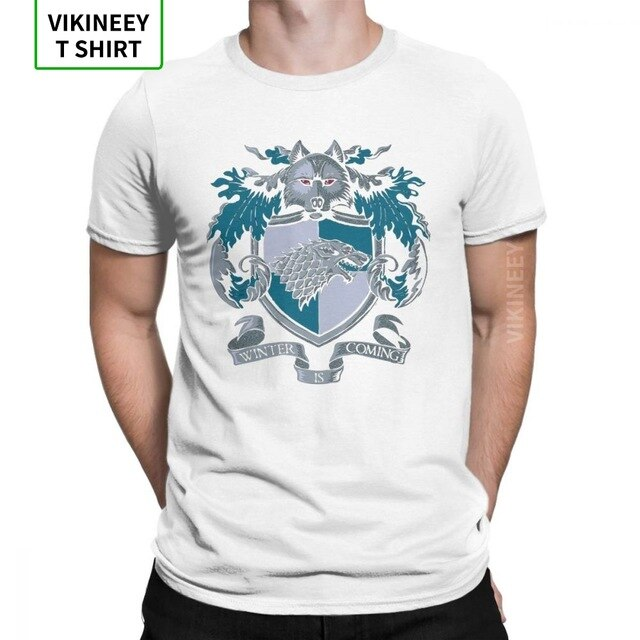 House Stark T-Shirts Sigil Winter Is Coming Game Of Thrones T Shirt Man Travel Tops Humor O-Neck 100% Cotton Tees