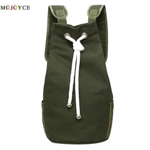 Casual Men Canvas Large Capacity Barrel Backpack Simple Travel Rucksack Army Green Back Pack Teenager School Backpack