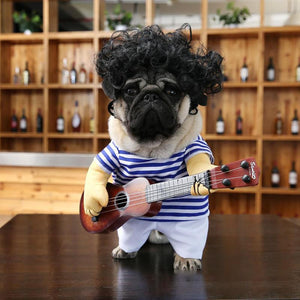 Funny Dog Costumes Guitar Cosplay Suit