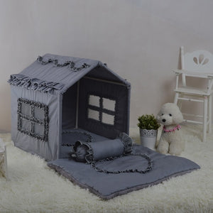 Open image in slideshow, Dog princess room lace hut luxury kennel cotton pet tent dog toy room