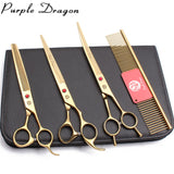 Stainless Purple Dragon Gold Dog Scissors with Straight Thinning Shears