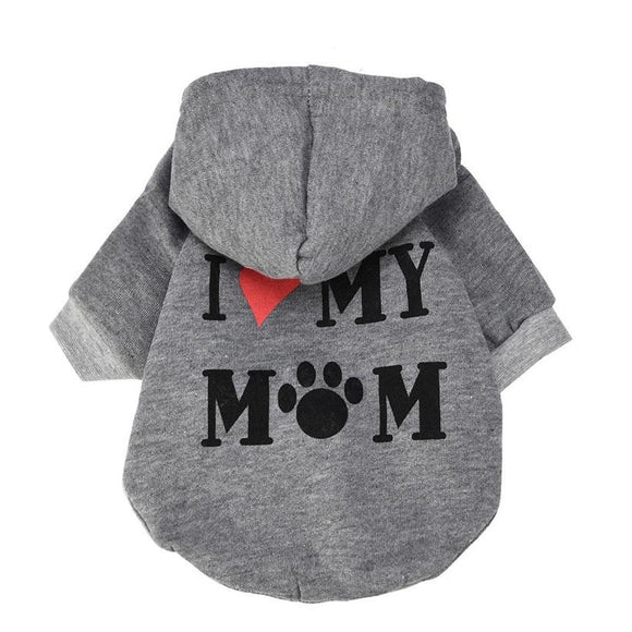 I LOVE MY MOM Dog Hoodie Coat