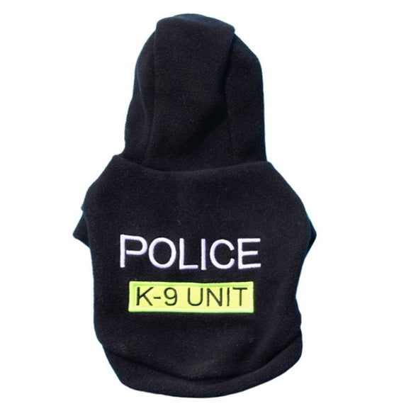 Letter POLICE Print Pet Dog Hooded Coat Fleece