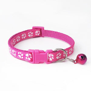 Nylon Fabric Dog Collar Bell with Lovely Small Footprint Flower Adjustable Strap