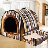 Foldable Warm Comfortable Dog House Print Stars Kennel Mat