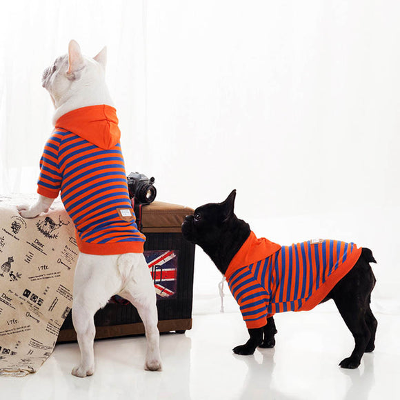 Orange Stripe Personalized Dog Hoodies