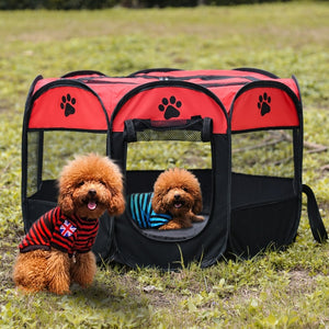 Open image in slideshow, Dog Playpen Tent Crate Room Foldable Waterproof Outdoor Two Door Mesh Shade Cover Nest Kennel