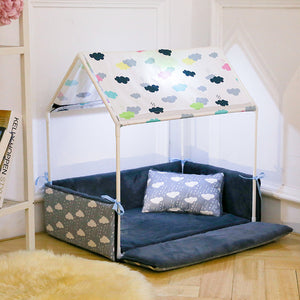 Washable Home Shape Dog Bed + Tent Dog Kennel Pet Removable Cozy House