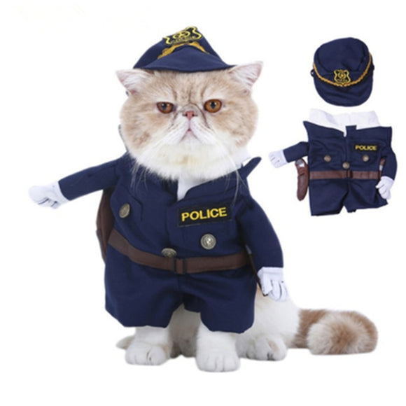 Funny Pet Costumes  Dog Cosplay Suit Halloween Christmas Nurse Policeman Uniform