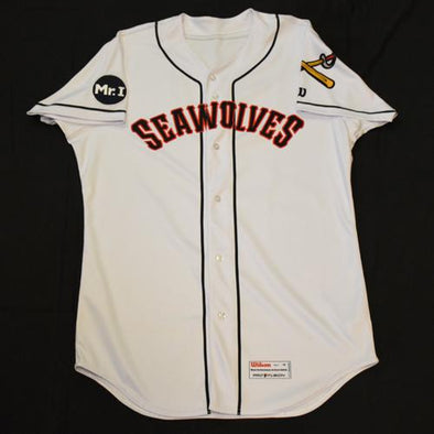 Erie SeaWolves 2017 A.J. Simcox Game Used White Jersey #10