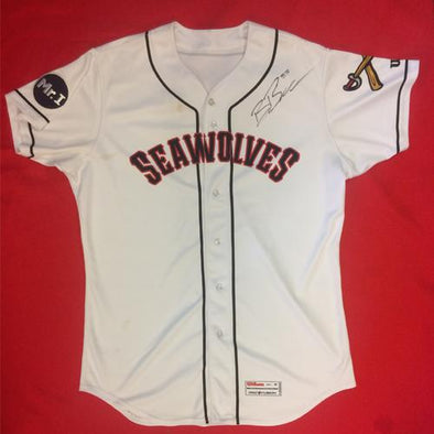 Erie SeaWolves Beau Burrows Home White Game Used Autograph Jersey #33
