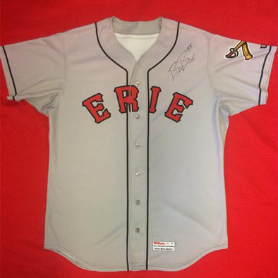 Erie SeaWolves Beau Burrows Gray Away Game Used Autograph Jersey #33