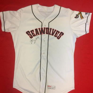 Erie SeaWolves Christin Stewart Home White Game Used Autograph Jersey #35