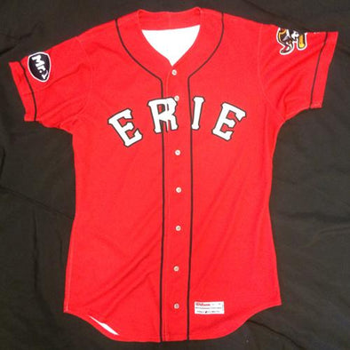 Erie SeaWolves Dawel Lugo Game Used Red Jersey #12