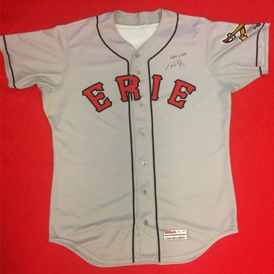 Erie SeaWolves Mike Gerber Gray Away Game Used Autograph Jersey #17