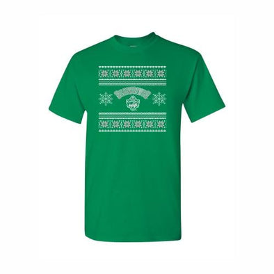 Erie SeaWolves Green Christmas Sweater Tee