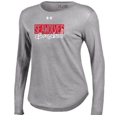 Erie SeaWolves Women's Under Armour Grey Long Sleeve Tee