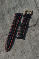 CROC STRAP - BLACK WITH RED CONTRAST STITCHING