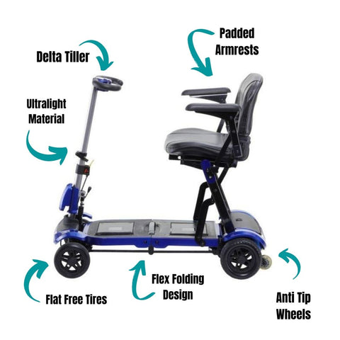 Drive ZooMe Flex Ultra Compact Folding Travel 4 Wheel Scooter