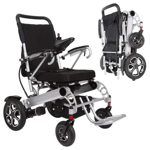 Vive Health Foldable Power Wheelchair - open and folded