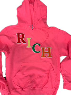 R I C H Pink Pullover Hoodie