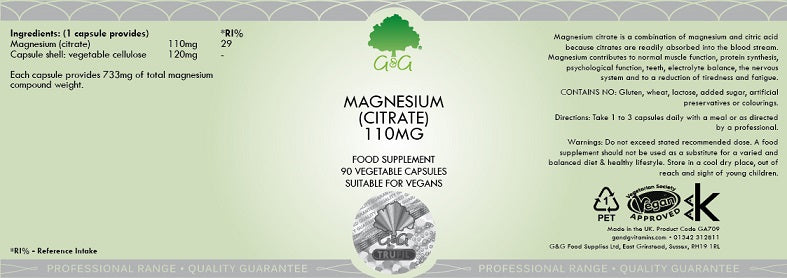 Load image into Gallery viewer, G&G Magnesium Citrate 110mg - 90 Capsules