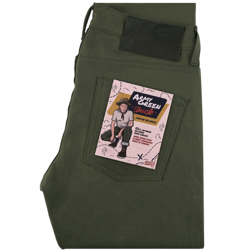 Naked & Famous Super Guy Fit - Army Green Duck Canvas