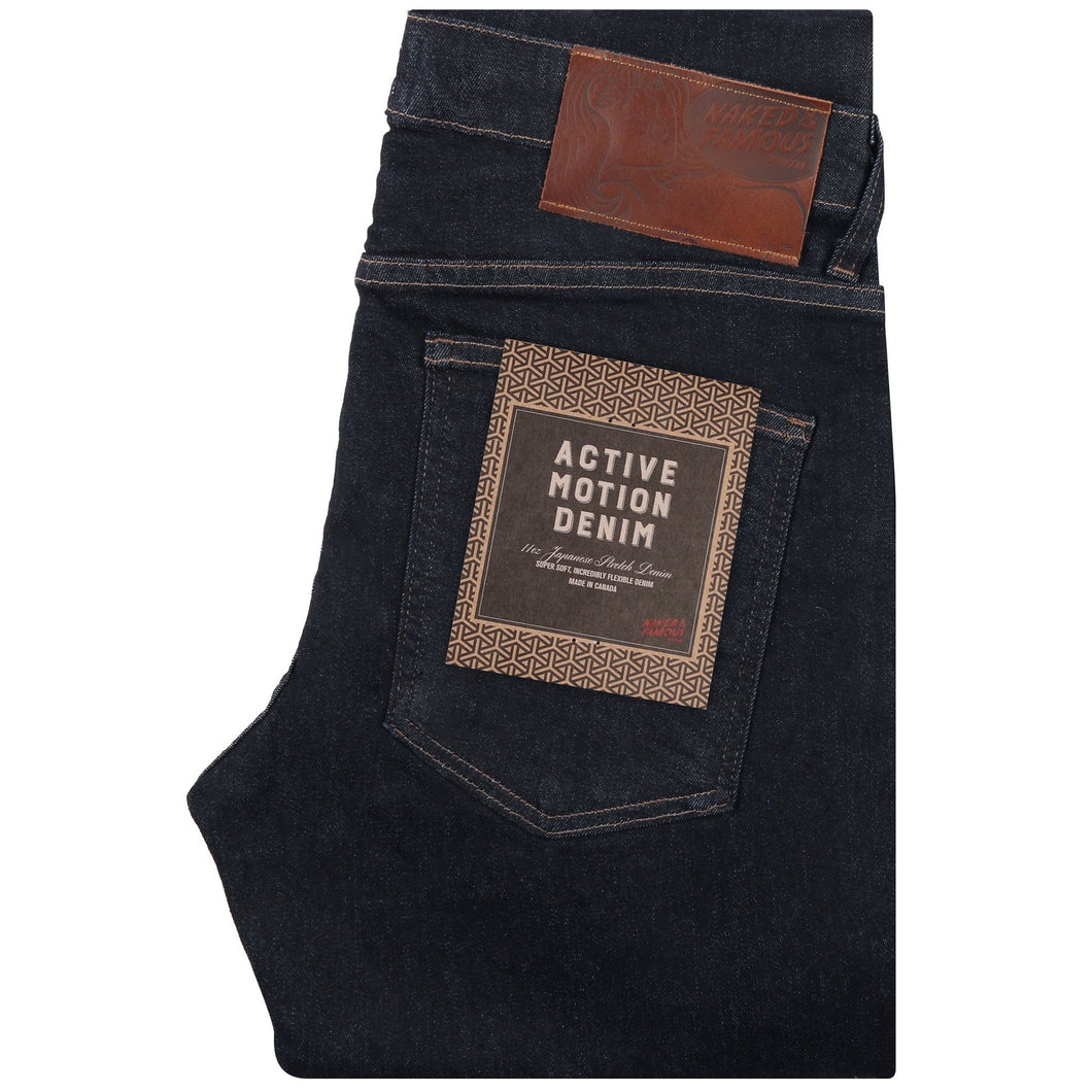 Naked & Famous Super Guy Fit Denim - Active Motion Denim