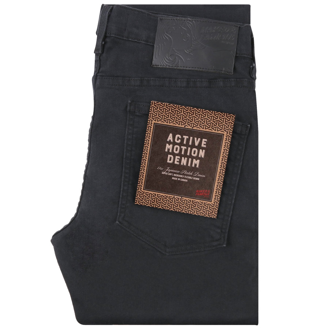 Naked & Famous Super Guy Fit Denim - Active Motion Black