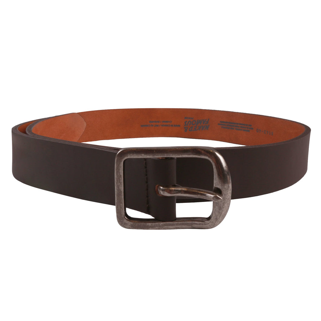 Naked & Famous Thick Belt 7mm Bovine Leather - Brown