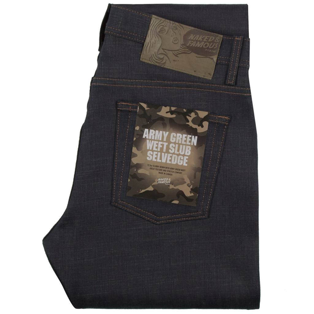 Naked & Famous Weird Guy Fit Denim - Army Green Weft Slub Selvedge