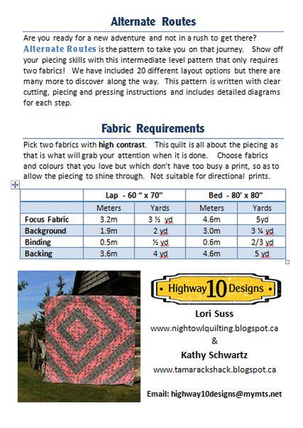 Alternate Routes PDF Quilt Pattern