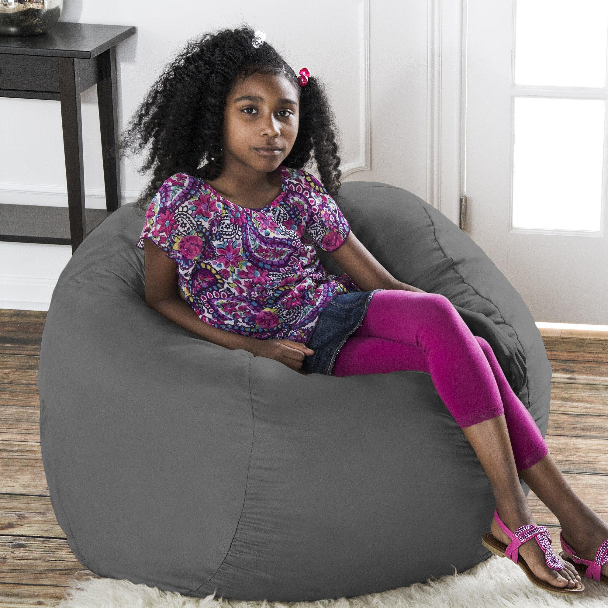 One Up Innovations Jaxx Saxx 3' Removable Cover Round Bean Bag in Fuchsia
