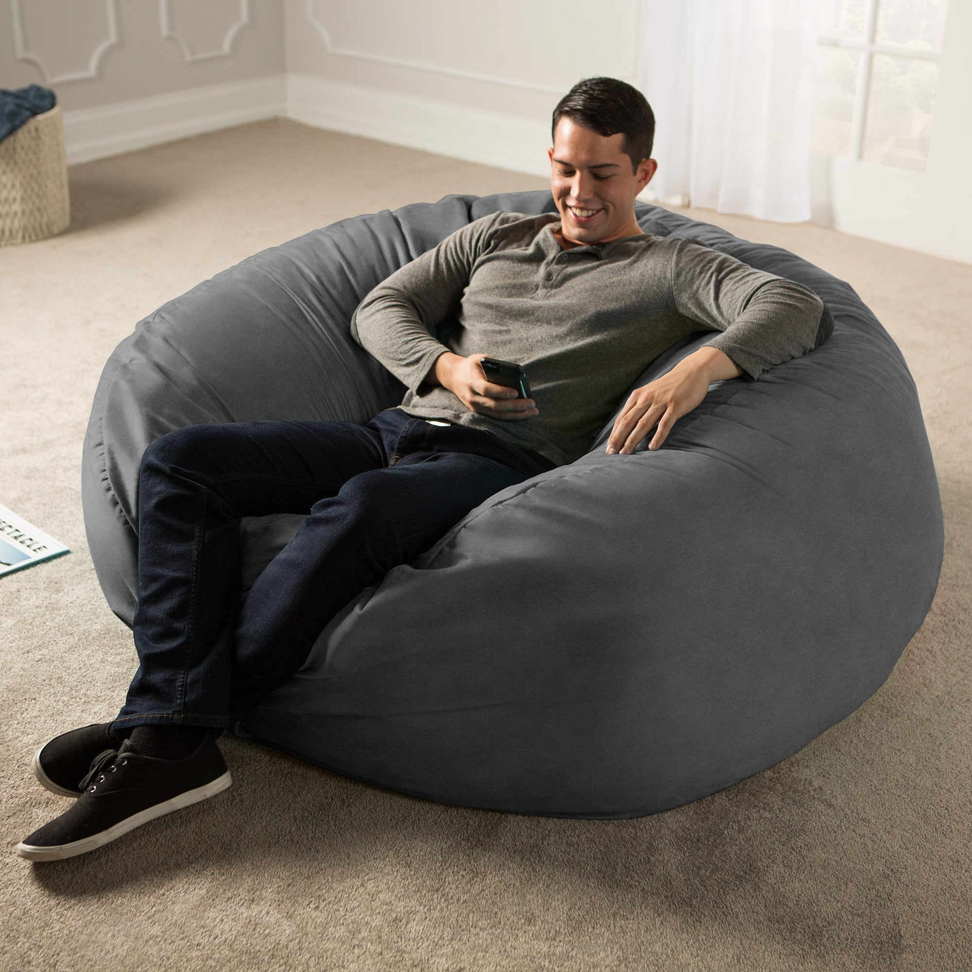 One Up Innovations Jaxx Saxx 5' Removable Cover Round Bean Bag in Navy