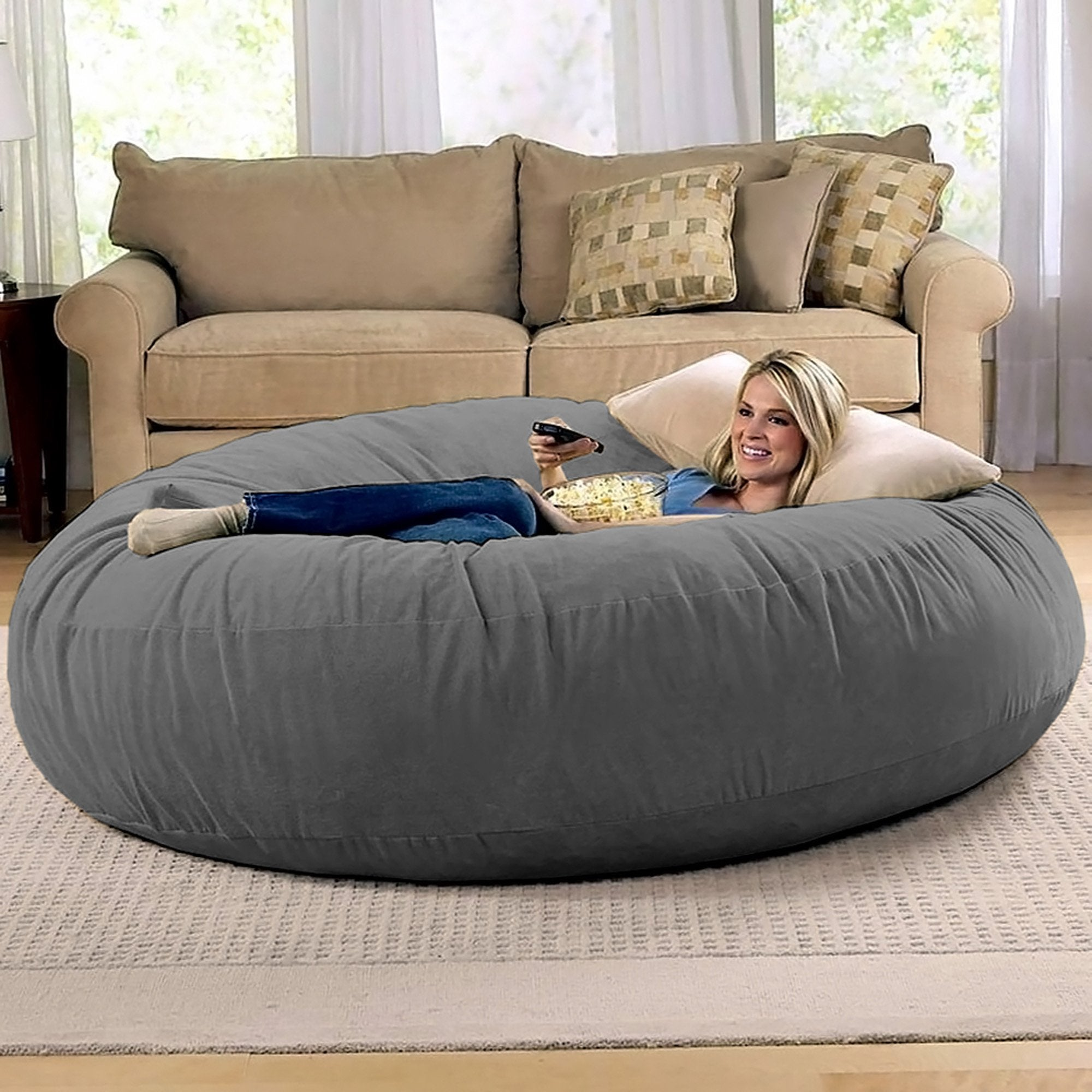 One Up Innovations Jaxx 6' Cocoon Bean Bag Chair in Charcoal