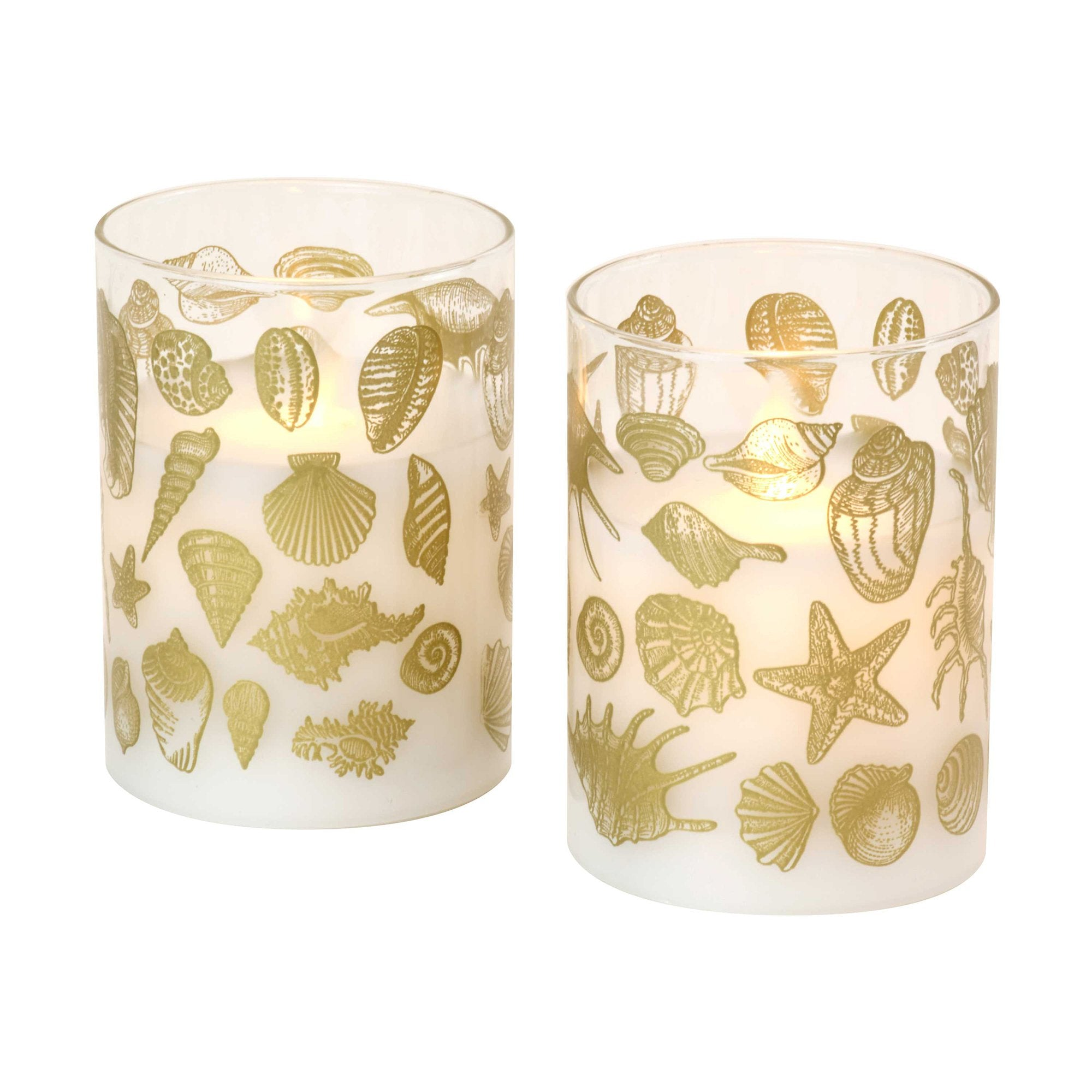 JH Specialties Inc. Seashell Moving Flame LED Glass Candles in Tan